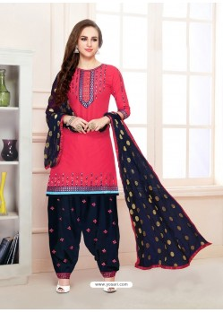 Dark Peach Cotton Satin Thread Embroidered Designer Salwar Suit