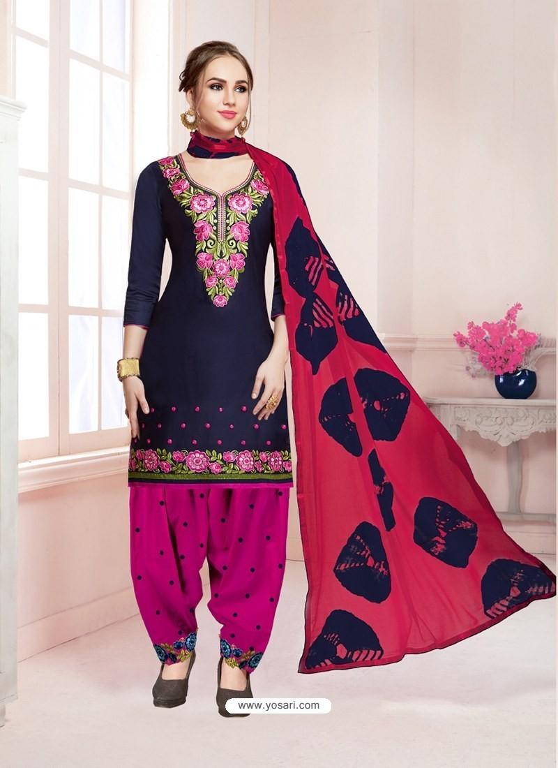 Buy Navy Blue Cotton Satin Thread Embroidered Designer Salwar Suit