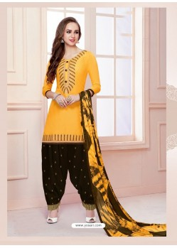 Yellow Cotton Satin Thread Embroidered Designer Salwar Suit