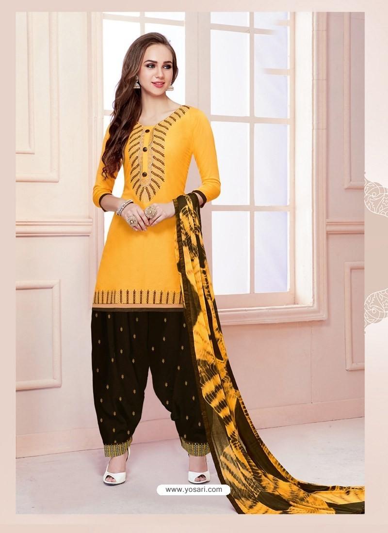 Buy Yellow Cotton Satin Thread Embroidered Designer Salwar Suit