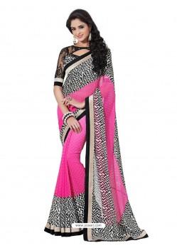 Trendy Black and Pink Color Sari