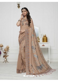 Sensational Beige Pashmina silk Designer Saree