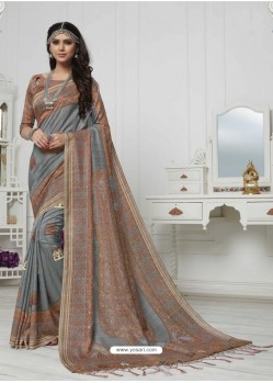 Admirable Grey And Multi Colour Pashmina silk Designer Saree