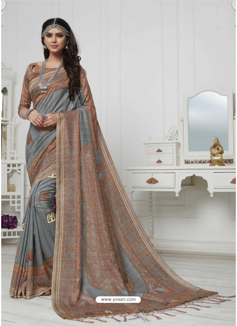c48665627fa005 Buy Admirable Grey And Multi Colour Pashmina silk Designer Saree ...