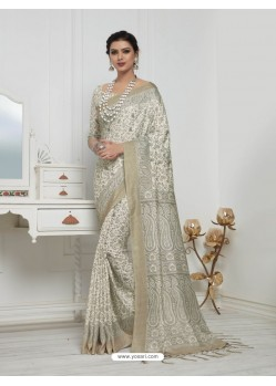 Adorable Off White Pashmina silk Designer Saree