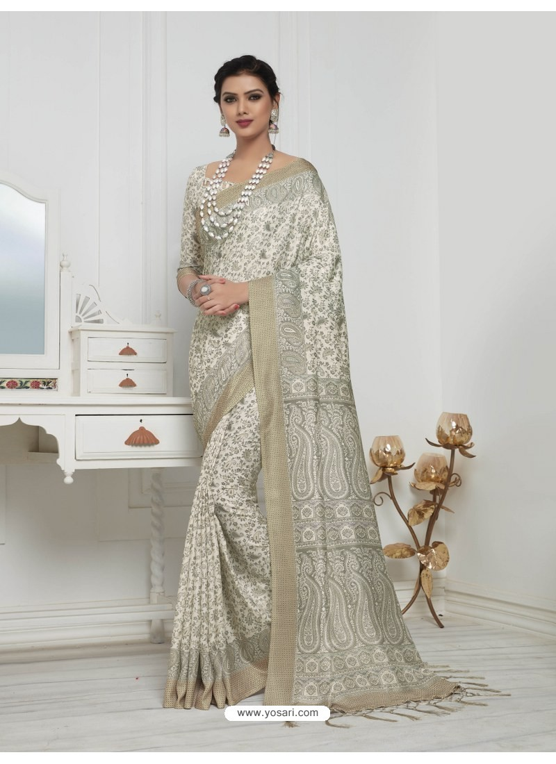 3673b71ccb Buy Adorable Off White Pashmina silk Designer Saree | Designer Sarees
