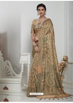 Outstanding Camel Pashmina silk Designer Saree