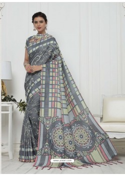 Remarkable Dull Grey Pashmina silk Designer Saree