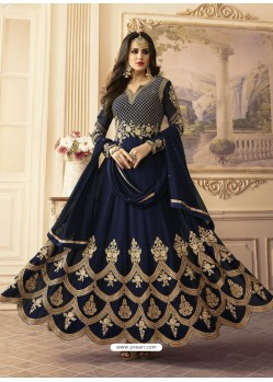 Navy Blue Georgett Embroidered Designer Floor Length Anarkali Suit