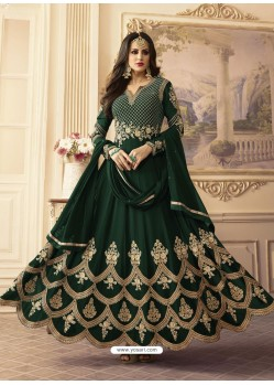 Dark Green Georgett Embroidered Designer Floor Length Anarkali Suit