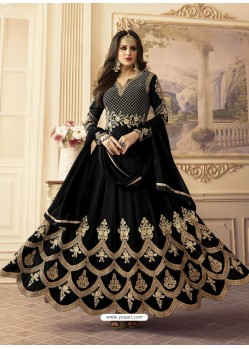 Black Georgett Embroidered Designer Floor Length Anarkali Suit
