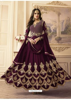 Deep Wine Georgett Embroidered Designer Floor Length Anarkali Suit