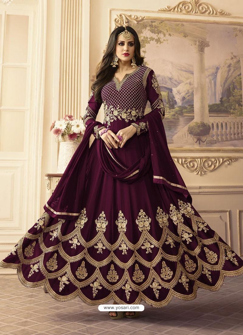 Deep Wine Georgett Embroidered Designer Floor Length Anarkali Suit
