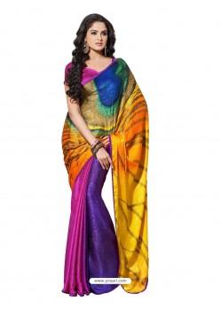 Printed Crape Silk Sari