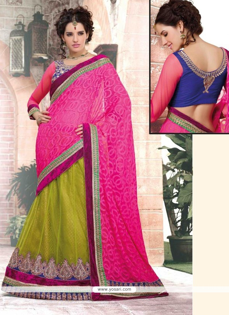 Gorgeous Green And Pink Net And Brasso Viscose Lehenga Saree
