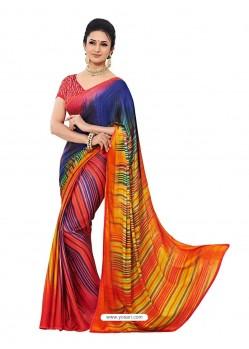Crape Silk Multicolor Sari