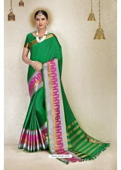 Forest Green Cotton Blended Designer Cotton Silk Saree