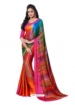 Crape Silk jacorde Digital Printed Multicolor Sari
