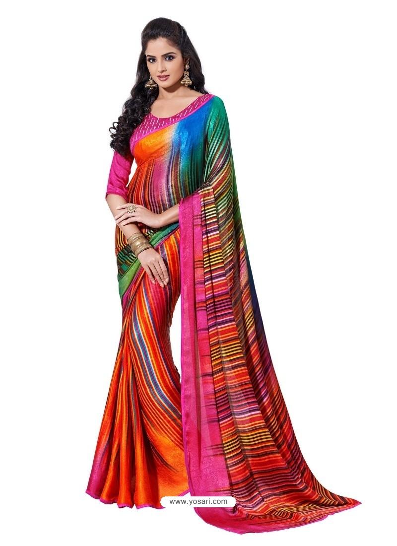 Crape Silk jacorde Digital Printed Multicolor Sari