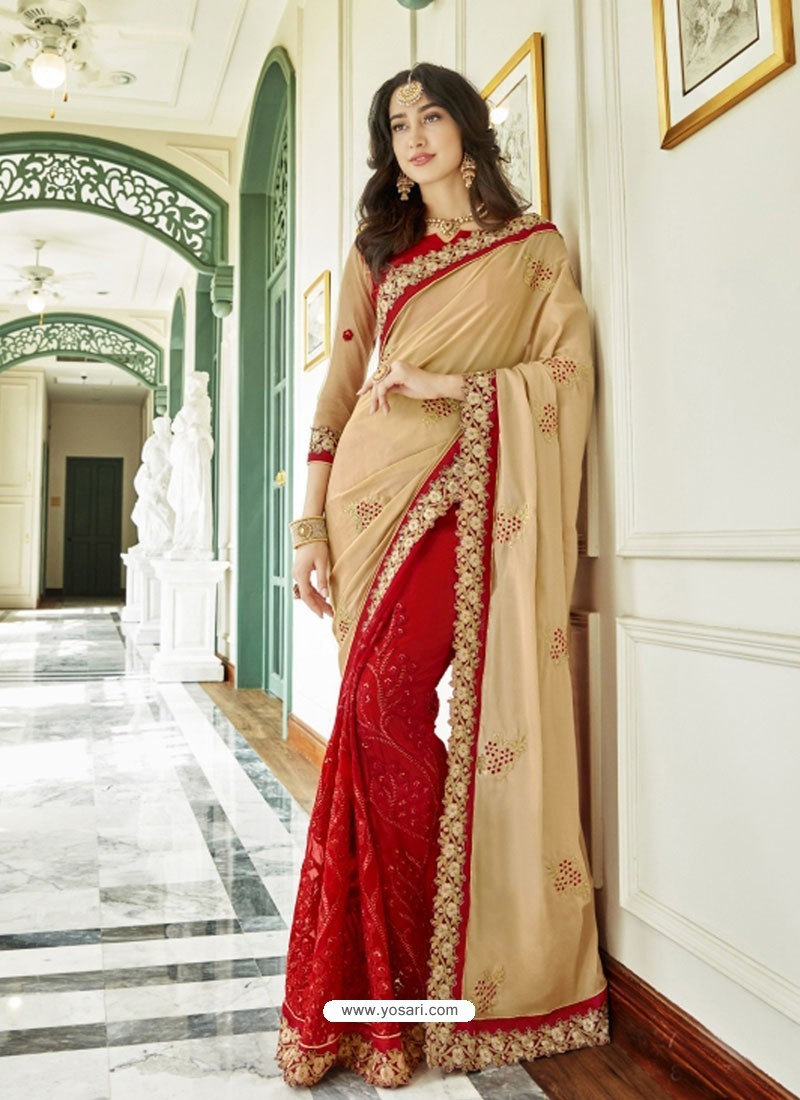 ea1617ff10 Buy Beige And Red Georgette Embroidered Designer Half N Half Saree ...