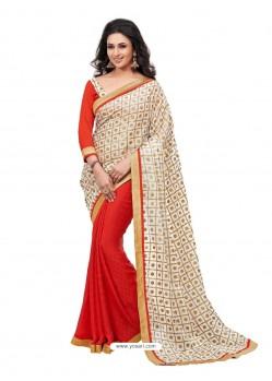 Kora Silk Red with Gold Printed Sari