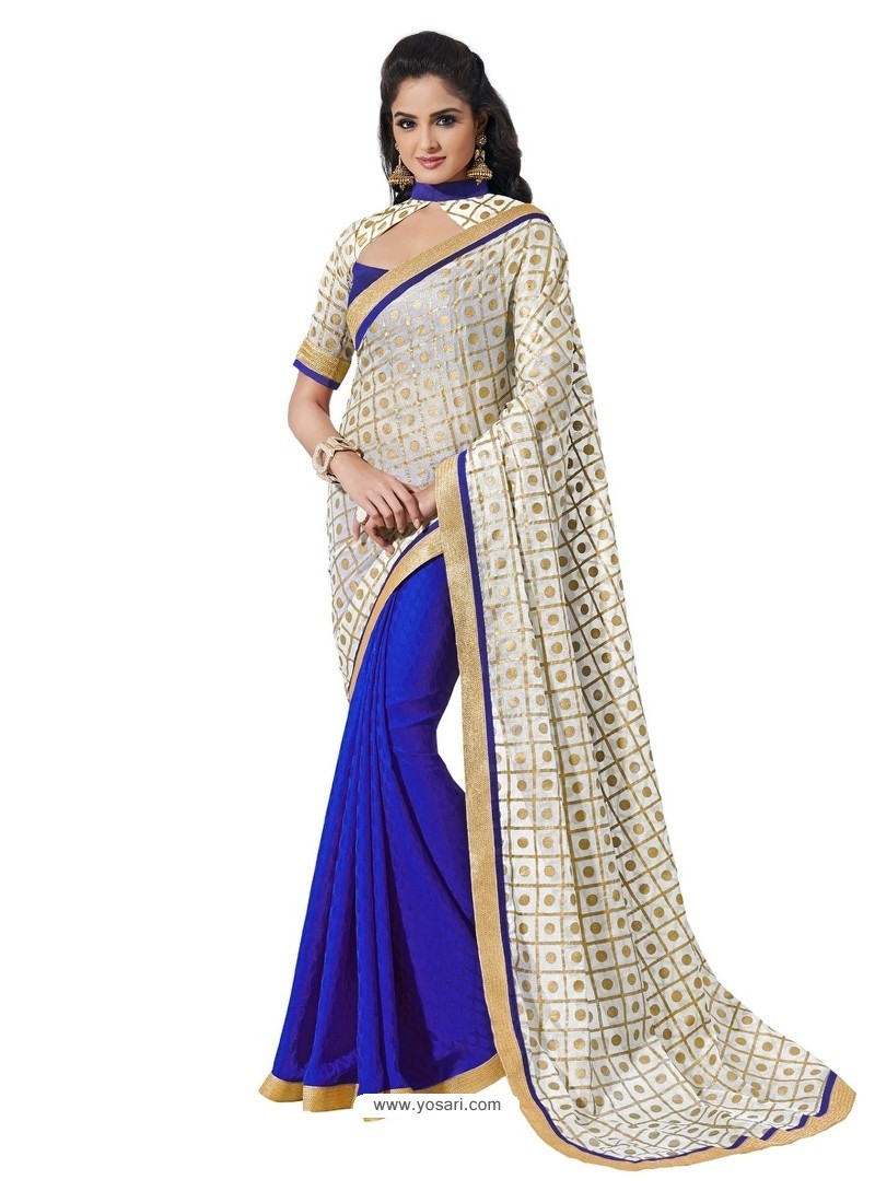 Kora Silk Blue Sari with Gold Printed