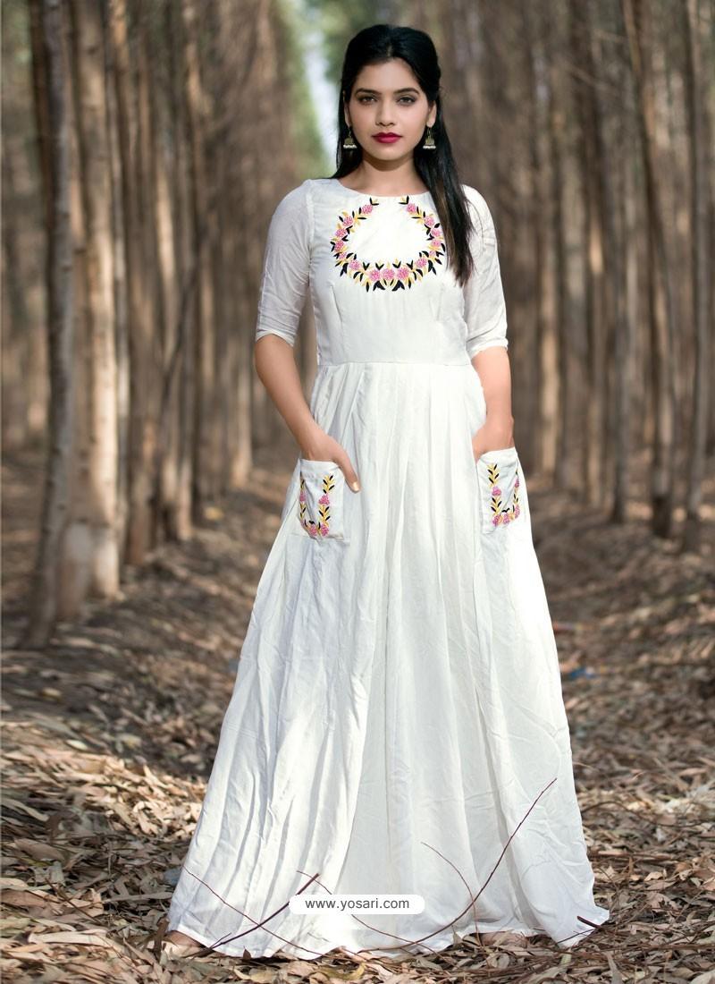 eba29a4c65 Buy White Muslin Silk Party Wear Designer Readymade Kurti   Party ...