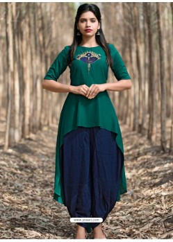 Dark Green Muslin Silk Party Wear Designer Readymade Kurti