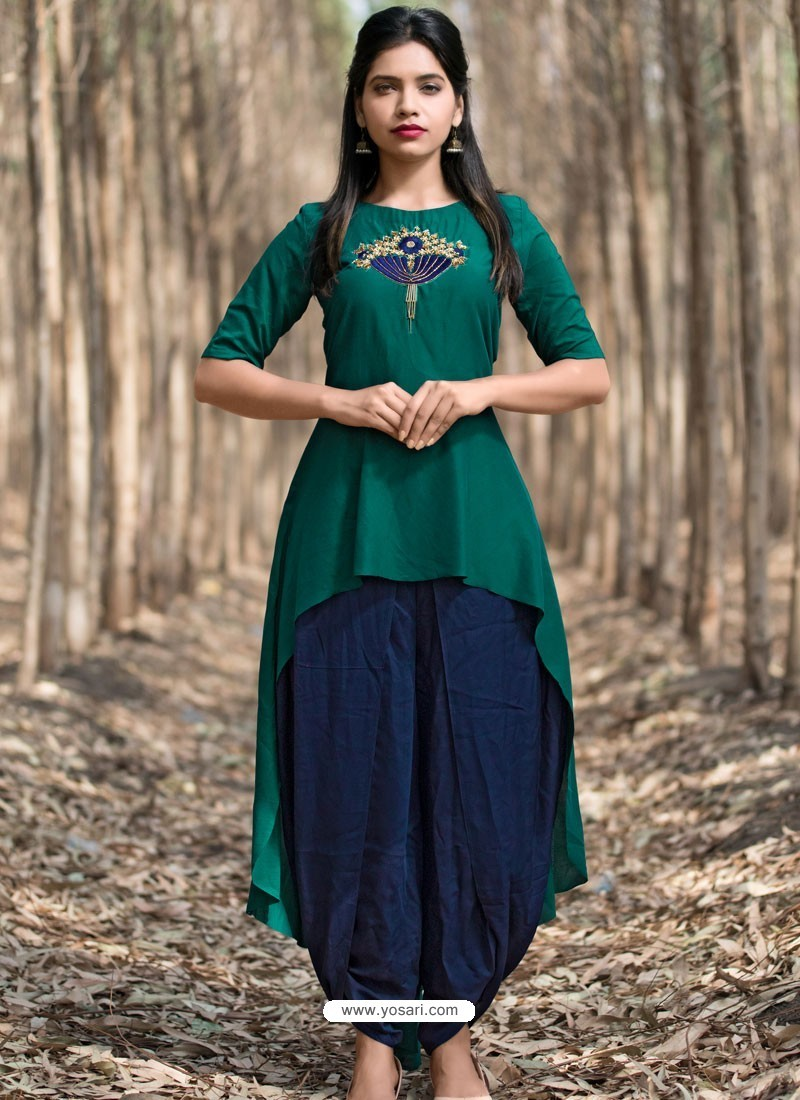 4007a76ef2 Buy Dark Green Muslin Silk Party Wear Designer Readymade Kurti ...