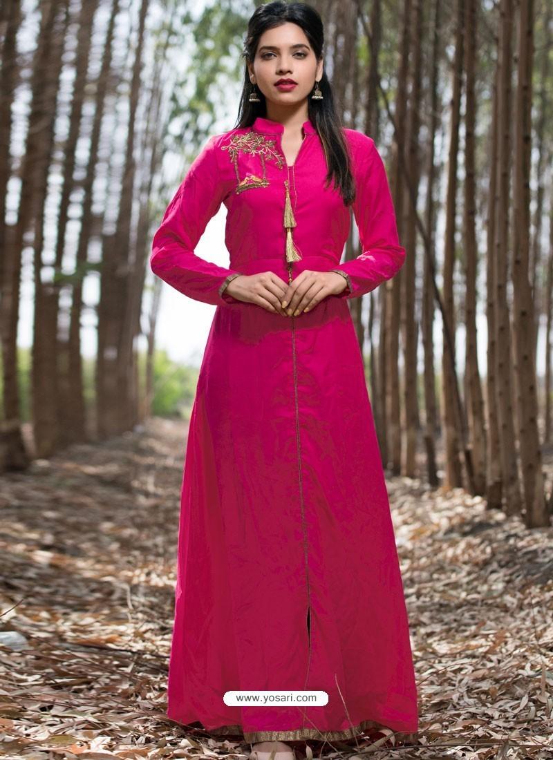 61bd59671f Buy Fuchsia Muslin Silk Party Wear Designer Readymade Kurti | Party ...