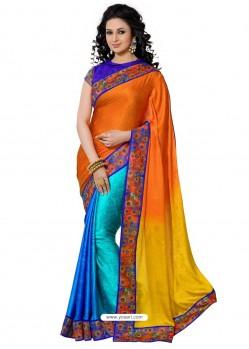 Multicolor Crape Silk Sari