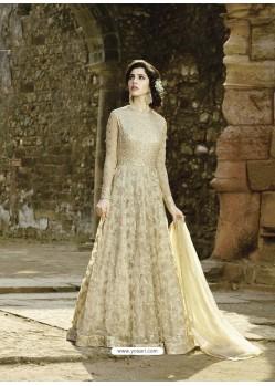 Beige Heavy Embroidered Premium Georgette Designer Anarkali Suit