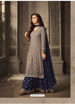Latest Grey And Navy Blue Georgette Embroidered Designer Palazzo Suit
