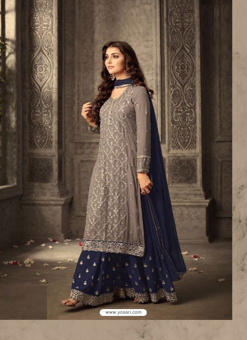 3c2f52cf33 Buy Latest Grey And Navy Blue Georgette Embroidered Designer Palazzo ...
