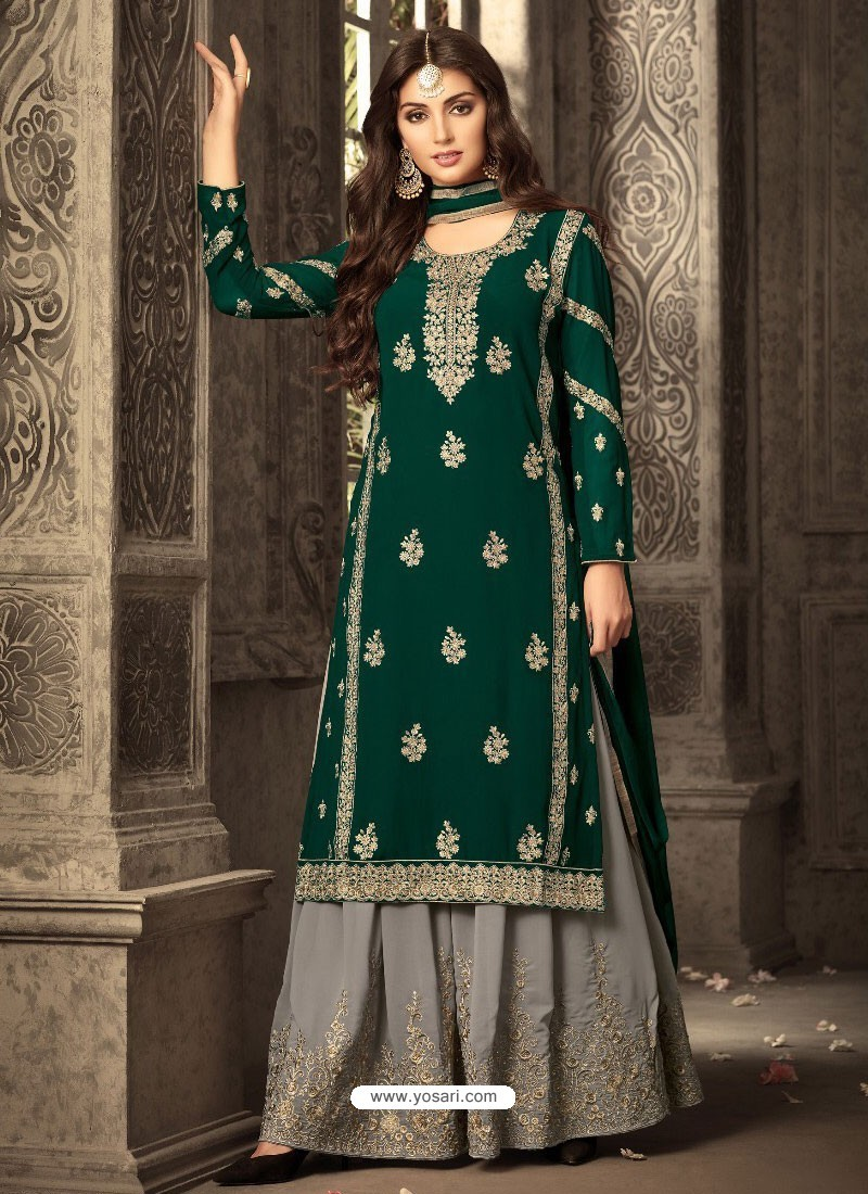 b53eff54c7 Awesome Dark Green And Grey Georgette Embroidered Designer Palazzo Suit