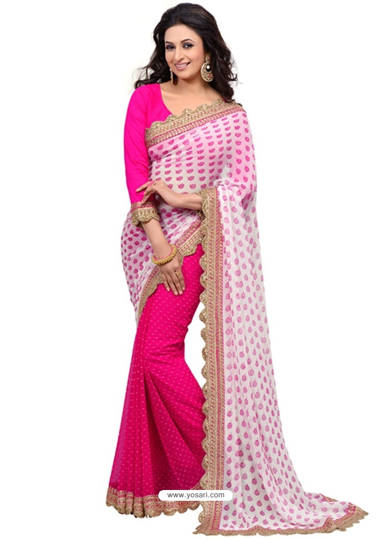 Baby Pink Color Georgette Sari