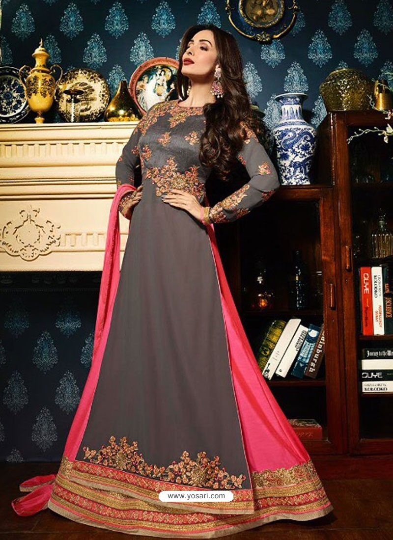 0a53207d72 Grey And Dark Peach Faux Georgette Designer Floor Length Anarkali Suit