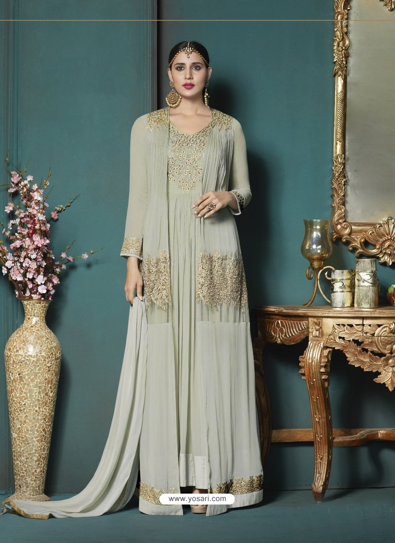 Olive Green Georgette Heavy Embroidered Party Wear Designer Anarkali Suit