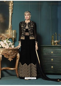 Black Georgette Heavy Embroidered Party Wear Designer Anarkali Suit