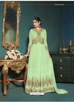 Sea Green Georgette Heavy Embroidered Party Wear Designer Anarkali Suit