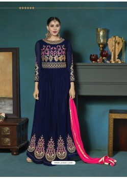 Navy Blue Georgette Heavy Embroidered Party Wear Designer Anarkali Suit