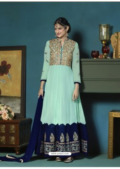 Aqua Mint Georgette Heavy Embroidered Party Wear Designer Anarkali Suit