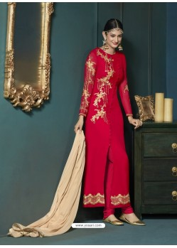 Red Georgette Heavy Embroidered Party Wear Designer Anarkali Suit