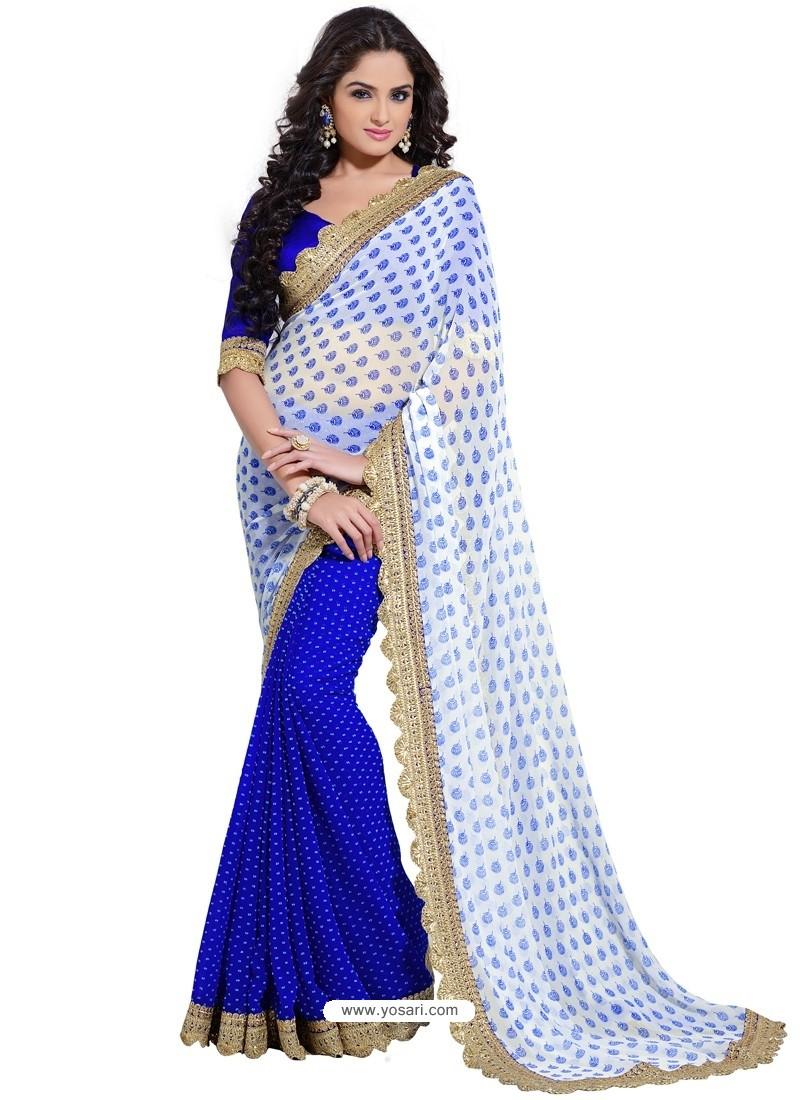 Royal Blue Color Georgette Sari