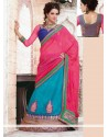 Turquoise And Pink Net And Crepe Wedding Lehenga Saree