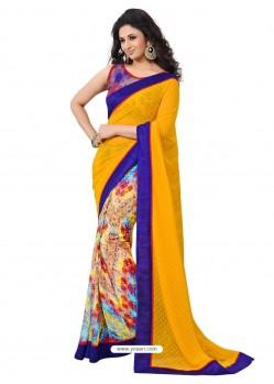 MultiColor Sari With Blue Border