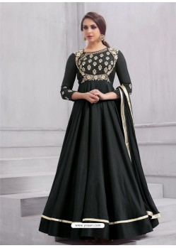 Black Resham Embroidered Tafetta Silk Designer Anarkali Suit