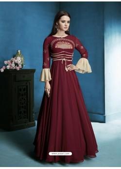 Maroon Georgette Embroidered Designer Floor Length Anarkali Suit