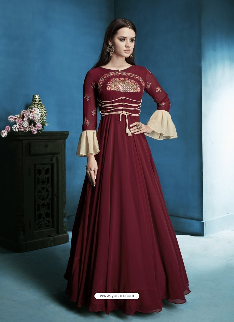 Buy Maroon Georgette Embroidered Designer Floor Length Anarkali Suit