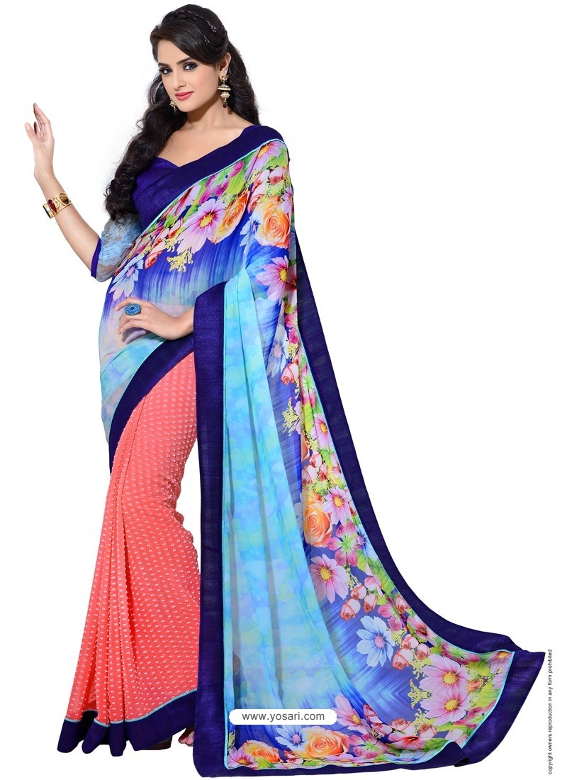 Georgette Digital Printed Multicolor Sari